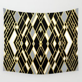 Art Deco Grey Gold Wall Tapestry