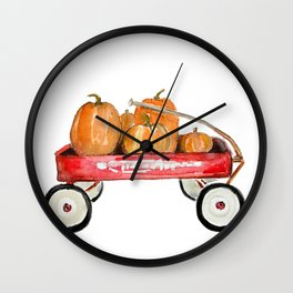 Red wagon watercolor  Wall Clock