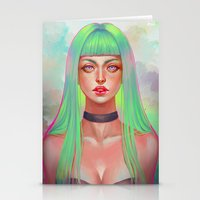 lime green Stationery Cards featuring Lime by serafleur