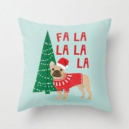 French Bulldog Christmas festive holiday sweater christmas card for dog lover french bulldog Throw Pillow