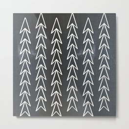 Mudcloth White Geometric Shapes in Black-ARROWS 5 Metal Print