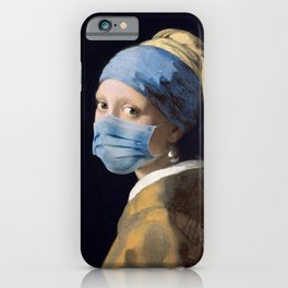 Girl with a Pearl Earring with Mask iPhone Case