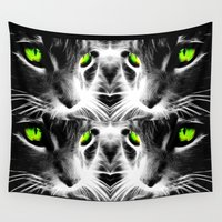 evil eye Wall Tapestries featuring the evil pussy cat eye by BURPdesigns