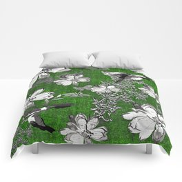 Birds Green Gray White Toile Comforters
