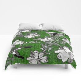 Birds Green Gray White Toile Comforters