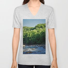 A Creek and Forest in West Virginia  Unisex V-Neck