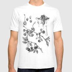 Botanical #CHERRIES White MEDIUM Mens Fitted Tee