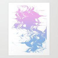 Suminagashi pastel marble blue and pink minimal painting watercolor ocean swirl Art Print
