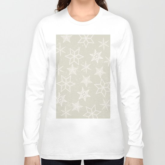 Snowflakes on beige background Long Sleeve T-shirt
