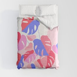 Pretty Monstera Plant in blue and pink Comforters