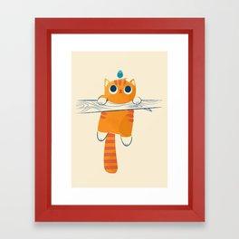 Fat cat, little bird Framed Art Print