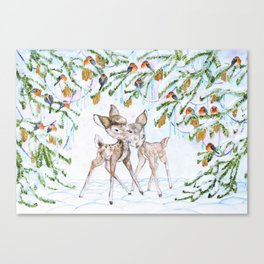 Cute Watercolor Deer Canvas Print