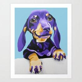 Dachshund Portrait in Blue Art Print