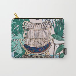 Wicker Chair and Delft Plates in Jungle Room Carry-All Pouch