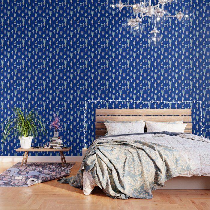 Little cactus pattern - Princess Blue Wallpaper