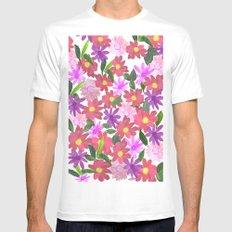 Flower Design White Mens Fitted Tee MEDIUM