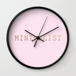 Pink and Copper Minimalist Typewriter Font Wall Clock