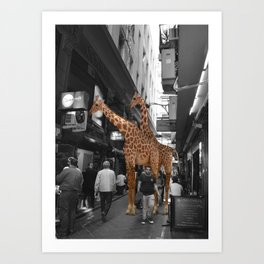 Safary in City. African Invasion. Art Print