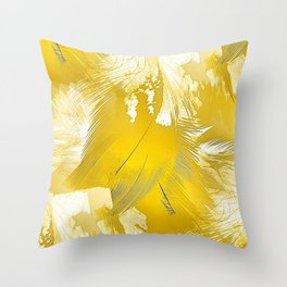 Golden Feathers Throw Pillow