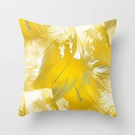 Golden Feathers Throw Pillow