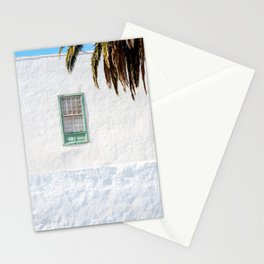 Green palmtree holiday window | Yaiza Lanzarote | Minimal fine art travel photography |  Stationery Cards