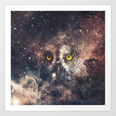Purple Galaxy Nebula Stars Blue Space Hipster Owl Art Print