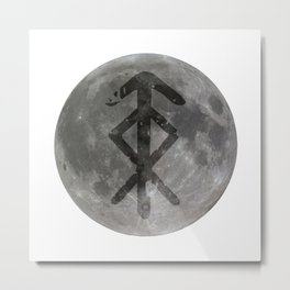 Viking bind rune 'Protection' on moon. Metal Print