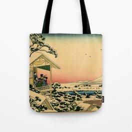 Japanese teahouse after the snow Tote Bag