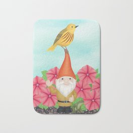 gnome with yellow warbler and petunias Bath Mat