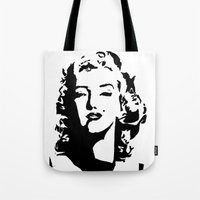 monroe Tote Bags featuring Monroe by annelise h