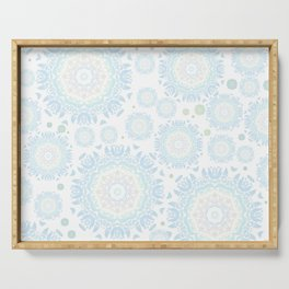 light blue mandalas pattern Serving Tray