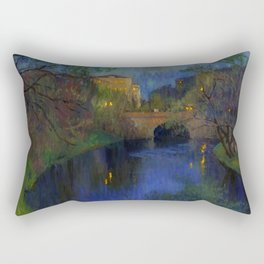 Twilight in Riga, Latvia by Nikolay Bogdanov-Belsky Rectangular Pillow