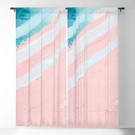 Modern abstract pink blue geometrical watercolor brushstrokes Blackout Curtain