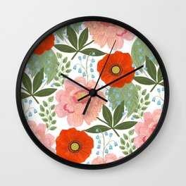 Pions and Poppies Wall Clock