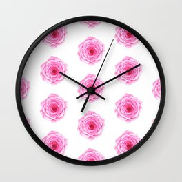 Pink roses abstract pattern in watercolor  Wall Clock