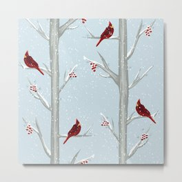 Red Cardinal Bird In The Winter Forest Metal Print