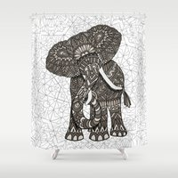 ornate elephant Shower Curtains featuring Elephant 2015 by ArtLovePassion