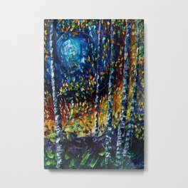 Moonlight Sonata With Aspen Trees Metal Print