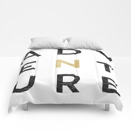 Adventure gold and marble Comforters