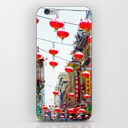 Red Chinese Lanterns in San Francisco Chinatown iPhone Skin