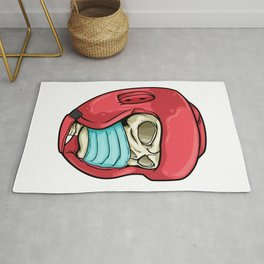 Skull with Face mask and Boxing helmet Rug
