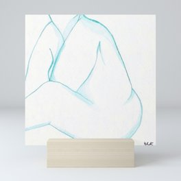 Japanese Watercolor Nude Sitting with Hands Tucked Print Mini Art Print