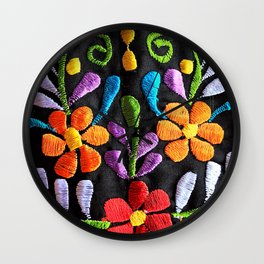 Mexican Flowers Wall Clock