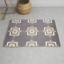 Aubergine and Taupe Mosaic Pattern Rug
