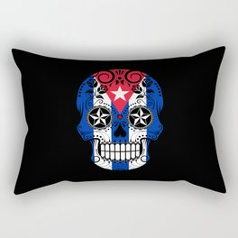 Sugar Skull with Roses and Flag of Cuba Rectangular Pillow