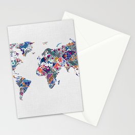 Moroccan Tile Mosaic Pattern World Map Art Stationery Cards