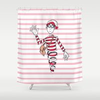 waldo Shower Curtains featuring Waldo by Lady Catton