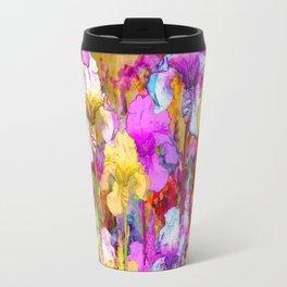 MIXED IRIS FLORAL AVOCADO ART DESIGN Travel Mug