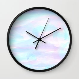 Pink, Purple, and Blue Watercolor Wall Clock