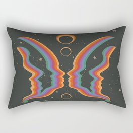 Rainbow Butterfly People Rectangular Pillow
